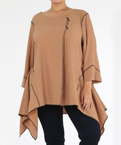 Another great find on #zulily! Khaki Stitch Sidetail Top - Plus by Curvesque #zulilyfinds