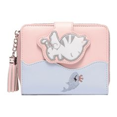 Tassel Color Block Fish Embroidery Wallet Pink ($30) ❤ liked on Polyvore featuring bags