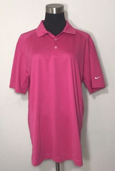 Nike Golf Shirt Mens Pink Polo Dri Fit Tour Performance Sz L Large #NikeGolf #PoloRugby #GolfShirts