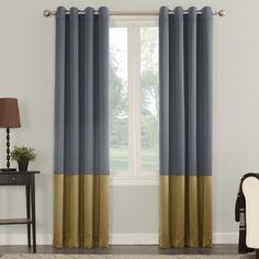 Sun Zero Phebe Color Block Grommet Single Curtain Panel