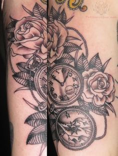 Grey Ink Rose and Clock Tattoo