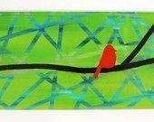 modern red bird, green background