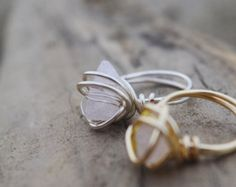 Rose Quartz ring / raw quartz ring / raw crystal ring / wire