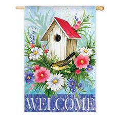 Birdhouse Welcome Spring Garden Flag Floral Decorative Yard Banner x Decoupage Vintage, One Stroke Painting, Tole Painting, Country Paintings, Flag Decor, Spring Garden, Garden Flags, Bird Houses, Spring Time