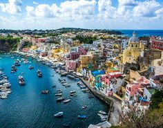 Procida is one of the Flegrean Islands off the coast of Naples in southern Italy Cruise Europe, Cruise Travel, Best Places In Italy, Places To Visit, Travel Around The World, Around The Worlds, Villefranche Sur Mer, Visit Barcelona, Italy Images