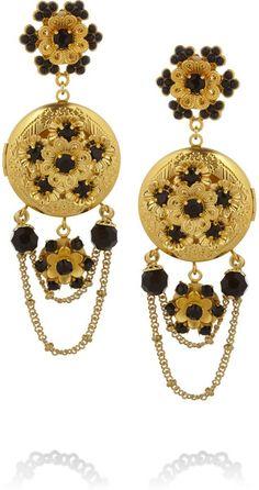 Goldtone Swarovski Crystal Locket Clip Earrings