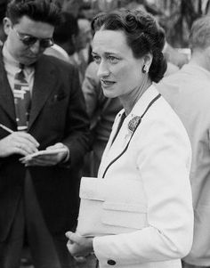 "Wallis Simpson (Bessie Wallis Warfield-Spencer-Simpson) (1896-1986) USA wife of King Edward VIII ""David"" (Edward Albert Christian George Andrew Patrick David) (1894-1972) Prince of Wales UK, Duke & Duchess of Windsor 1940s"