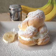 Banana Cream Puffs...  I feel like I would die of happiness if I ate these.