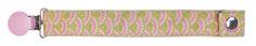 Attache Tétine modèle Lilie Rose, existe dans tous les motifs Miniyou.  Motif exclusif, fabriqué en France