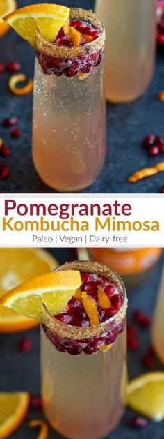 This Pomegranate Kombucha Mimosa recipe is a twist off of the traditional champagne and OJ combo with the addition of bursting with flavor pomegranate seeds and probiotic rich LIVE Kombucha. A tasty drink to add to a special Sunday brunch menu, a tradition that began in the early 1900's. | Paleo | Vegan | therealfoodrds.com