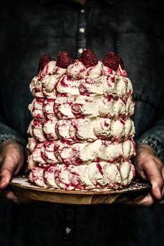 Raspberry ripple birthday cake