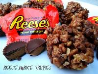 Six Sisters Reese's Peanut Butter Cup Rice Krispies Treats.  A favorite No Bake treat!!