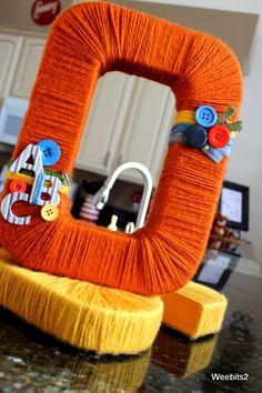 Custom Yarn Wrapped MonoGram LetteR 12 in Alphabet. $29.99, via Etsy.