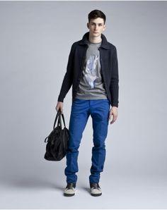 LANVIN Seasonal Looks Look 3 (Ribbed Mesh Jacket, Horse T-Shirt, Chino Pants, Small Bowling Bag)