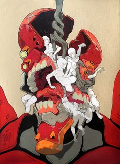 Tumblr: sachinteng:  Agnus Dei For Qpop Shops GAINAX Show  My painting for the Gainax show tonight at 7pm in Q2. Ive got a soft spot for Evangelion. A gross creepy mutilated soft spot. I was probably way too young to watch this when I did but robots with teeth and guts? There was no going back.   Check it out along with a bunch of other crazy artists!