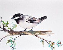ORIGINAL Watercolor painting 7x10 inch, Chickadee Painting, Bird On a Branch, Small Bird