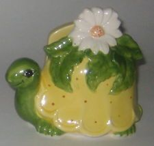 Darling TURTLE w/FLOWER Vintage JOSEF ORIGINALS Pottery LETTER or NAPKIN HOLDER