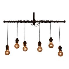 Ceiling Light -Industrial Lighting - Industrial Multi-Pendant Light [Round Edison Bulbs Included] on Etsy, $225.00