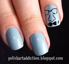 Polish Art Addiction: Mustache Nail Art