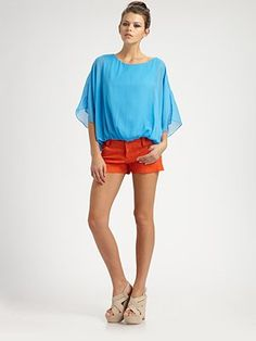 Alice + Olivia - Leather 5-Pocket Hipster Shorts - Saks.com  Add a pop of brightness with this outfit!  #SaksLLTrip