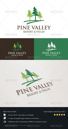 Pine Valley Resort & Villas Logo #GraphicRiver An Excellent logo for travel, vacation, resort and villas company that bring concept of best natural views around the place that can bring client amazing experience in their holiday with family. Provide 11 layer in any different colors combination and perspective that prepared for future used. More Exclusive Logo Collections Created: 7September13 GraphicsFilesIncluded: VectorEPS #AIIllustrator Layered: Yes MinimumAdobeCSVersion: CS Resolution…