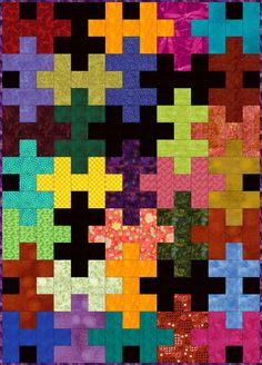 Use my easy Jigsaw Puzzle quilt pattern to make a scrappy or choose a coordinated theme. The project is a baby quilt, but I've added info for larger blocks.: Cutting Instructions for and Puzzle Quilt Blocks Quilt Baby, Rag Quilt, Quilt Pillow, Quilt Top, Colchas Quilting, Quilting Projects, Quilting Designs, Quilting Ideas, Quilt Design