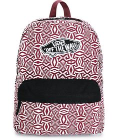 Gear up in style with this blackberry geo print backpack that comes equip with a padded shoulder straps and back panel for comfort, and roomy storage space to keep your thing secured.