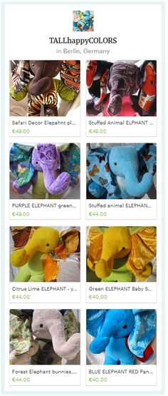 ELEPHANTS - Unique elephants nursery, elephants baby shower, soft toy elephant home decor, Handmade by TALLhappyCOLORS #blueelephant #yelolowelephant #purpleelephant, #blackelephant #epic