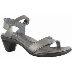 Naot Women's Cheer, Style #: 40013-NI6 in Sterling - Mirror | A simple and elegant sandal that will get you around town in style and comfort, this feminine sandal features a pretty strap design and style has a padded heel cup for ultimate comfort and a hook and loop closure around the ankle keeps them in place. These pretty sandals will go with any dress pants and sun dress. On the Avant-Garde Footbed. | #Naot shoes are available at www.TheShoeMart.com #TheShoeMart