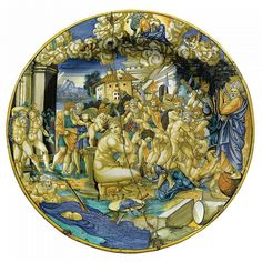 A DOCUMENTARY AND UNRECORDED MAIOLICA DISH BY XANT.  brilliantly painted with an allegory of the Sack of Rome in 1527, showing soldiers of the Holy Roman Empire drunkenly assaulting the citizens of Rome while a stupefied Bacchus and a horrified Pope Clement VII look on, Venus being consoled by Cupid in the foreground, the goddess Juno watching from the skies, a tablet dated 1527 in her lap ( broken in half and repaired)
