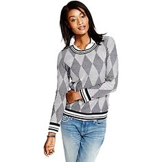 Tommy Hilfiger women's sweater. For a fresh twist on tradition, our crewneck is stitched in an argyle pattern and trimmed with ribbing you would recognize on a baseball jacket. Light, airy and ideal for the transitional months. <br>• Classic fit. <br>• 100% cotton.<br>• Crewneck, ribbed trim.<br>• Machine washable.<br>• Imported.<br>