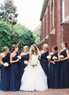 Navy blue bridesmaid dresses, Ballgown Wedding Dress, Bridal party style and fashion, Simple bridesmaid bouquets, Charlotte City Club Wedding, Featured on Carats & Cake