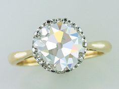 Vintage Antique GIA 3.25ct Diamond 18K Gold Platinum Art Deco Engagement Ring #Solitaire