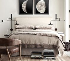 .love the moon prints over the bed   maybe even with a backlight    too much??