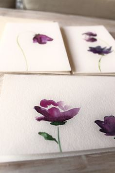 Watercolor Greeting Cards Birthday Cards Purple Flowers Set of 3 // handpainted original watercolor stationery