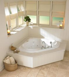 """Looking for great deals on """"Jacuzzi Bellavista Salon Spa Corner Bathtubs""""? Compare prices from the top online plumbing retailers. Save big when purchasing Jacuzzi Corner bathtubs. Corner Jacuzzi Tub, Jacuzzi Bathtub, Corner Tub, Spa Tub, Bath Tub, Steam Showers Bathroom, Small Bathroom, Master Bathroom, Garden Tub Decorating"""