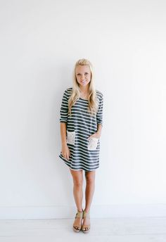 This Striped French Terry top screams Fall! And that just makes us gitty inside!! On the cooler days throw on leggings and boots and you are the cutest girl on the block. For now with the warm weather wear it alone with your favorite flats! You basically can't go wrong with this top.
