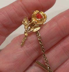 Rhinestone Rose tie pin, Vintage Gold tone flower tie tack,  Vintage Style, Gifts for men, Men's accessories, Gingerslittlegem by GingersLittleGems on Etsy