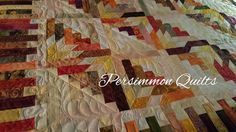 """Timberline"" Log Cabin quilt made by Linda.   Judy Martin design. Longarm quilting by Le Ann Weaver of www.persimmonquilts.com"