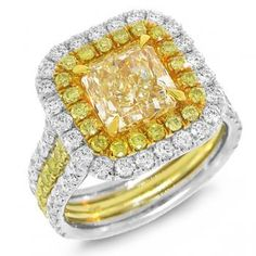 4.81ct 18k Two-tone Gold EGL Certified Radiant Cut Natural Fancy Yellow Diamond Ring