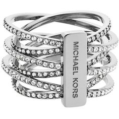Michael Kors Pave Crisscross Band Ring ($135) ❤ liked on Polyvore featuring jewelry, rings, bracelets, accessories, clear crystal ring, clear rings, pave ring, clear crystal jewelry and clear jewelry