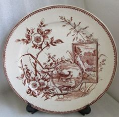 LOVELY ANTIQUE PLATE AESTHETIC BROWN TRANSFERWARE DEER FAWN WATERFALL c 1880's #Unknown