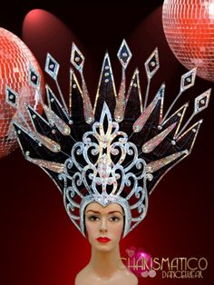 Glittery black and silver mirror accented showgirl's drag queen headdress Drag Wigs, Red Dress Outfit, Dragon Mask, Hat Day, Fantasy Makeup, Tiaras And Crowns, African Fashion, African Style, Showgirls