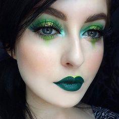 41 Adorable Eye Makeup Looks . - 41 Adorable Eye Makeup Looks Like Green Eyes – DIY Fashion – Make up – make up - Green Eyeshadow Look, Makeup For Green Eyes, Eyeshadow Looks, Green Lipstick, Orange Eyeshadow, Dark Eyeshadow, Looks Halloween, Halloween Fairy, Halloween Makeup