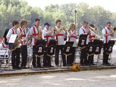 Flying the flag: one of our young brass bands performing in Spain.