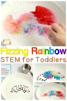 Colorful Rainbow Baking Soda and Vinegar Experiment for Kids! If you want to try STEM activities for toddlers and preschoolers, start with easy, fun things! These fizzing rainbows fit the bill perfectly and are easy! - Spring Activities for Kids Toddlers And Preschoolers, Science For Toddlers, Preschool Science, Science For Kids, Toddler Preschool, Color Activities For Toddlers, Stem Activities For Kindergarten, Art For Toddlers, Science Activities For Toddlers