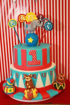 Jill O's Birthday / Carnival/Circus - Photo Gallery at Catch My Party Carnival Birthday Cakes, Carnival Party Foods, Circus Carnival Party, Circus Theme Party, Circus Birthday, Carnival Ideas, Little Man Birthday, Baby 1st Birthday, First Birthday Parties