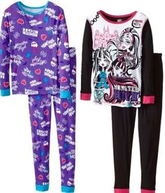MONSTER HIGH GIRLS PAJAMAS SET NEW with 2 Pairs  with tags SIZE 10 New Style #PajamaSet