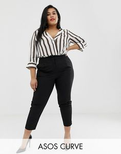 Find the best selection of ASOS DESIGN Curve mix & match cigarette pants. Shop today with free delivery and returns (Ts&Cs apply) with ASOS! Office Wear Plus Size, Plus Size Business Attire, Business Casual Outfits For Women, Office Outfits Women, Business Casual Attire, Casual Work Outfits, Professional Outfits, Curvy Outfits, Work Attire