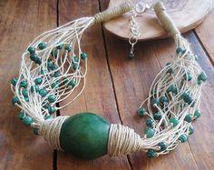 Statement Necklace, Tagua Nut Necklace, Linen Neklace, Malachite Green Tagua Nut Bead, Organic Bead, Linen Cord